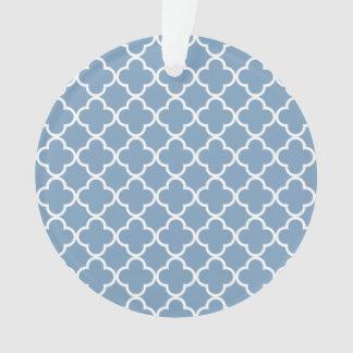 Dusk Blue White Quatrefoil Moroccan Pattern