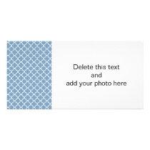 Dusk Blue White Quatrefoil Moroccan Pattern Card