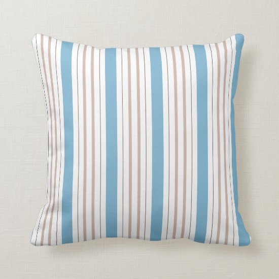 Dusk Dusty Blue and Khaki Tan Stripes Throw Pillow