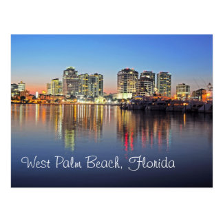 Dusk falls upon West Palm Beach Florida Post Card