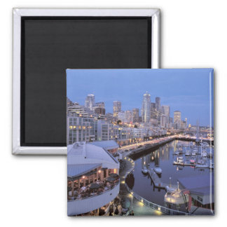 Dusk on Bell Harbor in Seattle, Washington. 2 Inch Square Magnet