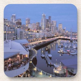 Dusk on Bell Harbor in Seattle, Washington. Beverage Coaster