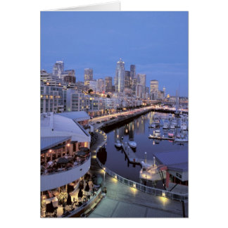 Dusk on Bell Harbor in Seattle, Washington. Card
