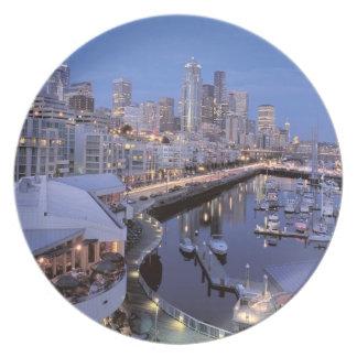 Dusk on Bell Harbor in Seattle, Washington. Dinner Plate