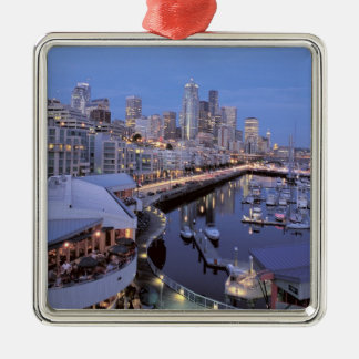 Dusk on Bell Harbor in Seattle, Washington. Metal Ornament