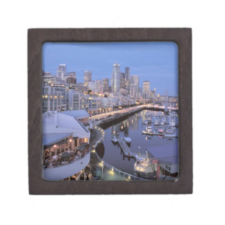 Dusk on Bell Harbor in Seattle, Washington. Premium Keepsake Boxes