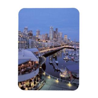 Dusk on Bell Harbor in Seattle, Washington. Rectangular Photo Magnet