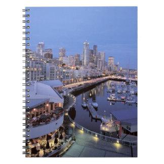 Dusk on Bell Harbor in Seattle, Washington. Spiral Notebook