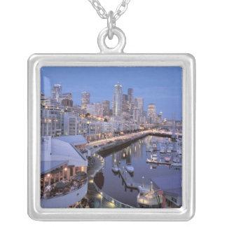 Dusk on Bell Harbor in Seattle, Washington. Square Pendant Necklace