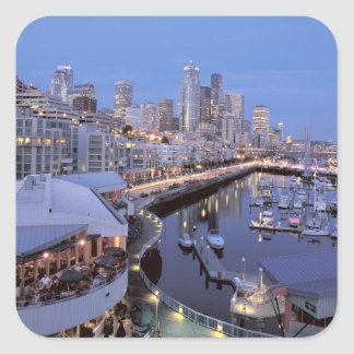 Dusk on Bell Harbor in Seattle, Washington. Square Sticker