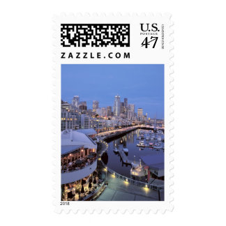 Dusk on Bell Harbor in Seattle, Washington. Stamp