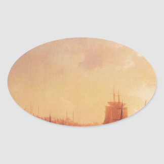 Dusk on the Golden Horn by Ivan Aivazovsky Oval Sticker