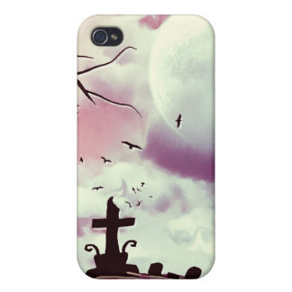 Dusk Pink Full Moon Graveyard Goth Speck Case Covers For iPhone 4