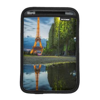 Dusk reflections below the Eiffel Tower iPad Mini Sleeves