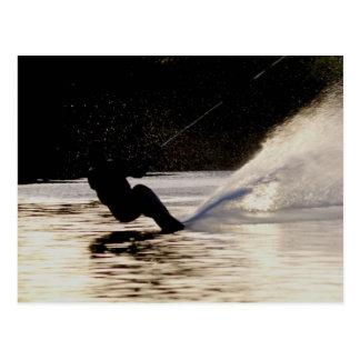 dusk skier postcard
