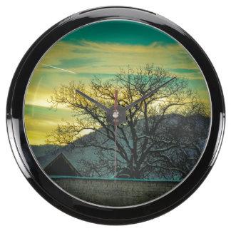 Dusk tree aquarium clocks