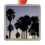 Dusk with Palm Trees Peaceful Tropical Scene Square Metal Christmas Ornament