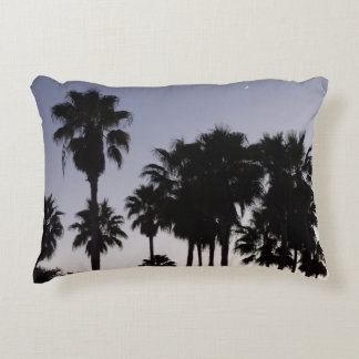 Dusk with Palm Trees Tropical Scene Accent Pillow