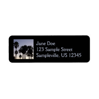 Dusk with Palm Trees Tropical Scene Label