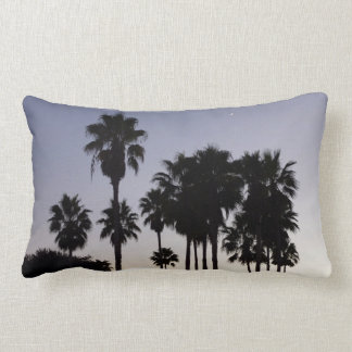 Dusk with Palm Trees Tropical Scene Lumbar Pillow