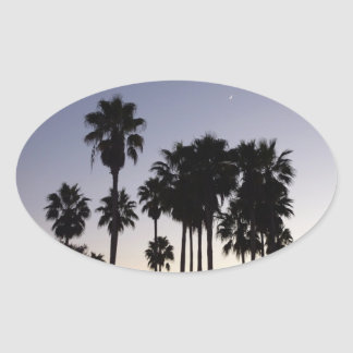 Dusk with Palm Trees Tropical Scene Oval Sticker