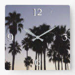 Dusk with Palm Trees Tropical Scene Square Wall Clock