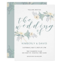 Dusky Blue Floral Wedding Invitations