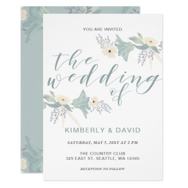 Dusky Blue Floral Wedding Invitations