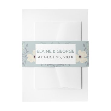 Dusky Blue Floral Wedding Invitations Invitation Belly Band