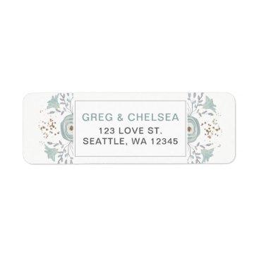 Dusky Blue Floral Wedding Label