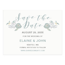 Dusky Blue Floral Wedding Save the Date Postcard