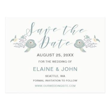 Dusky Blue Floral Wedding Save the Date Postcard
