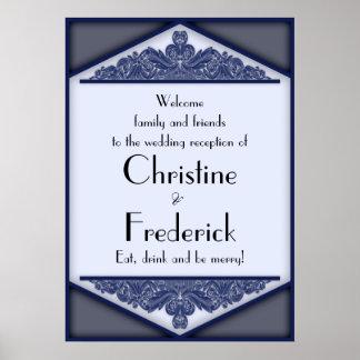 Dusky Blue Vintage, reception welcome poster
