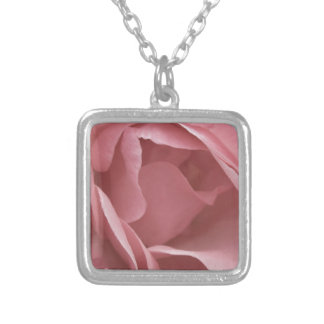 DUSKY PALE PINK ROSE Silver Plated Necklace