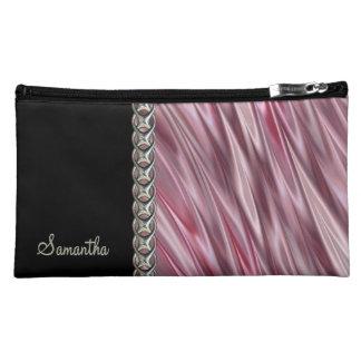 Dusky pink, black, silver chain, monogram makeup bags