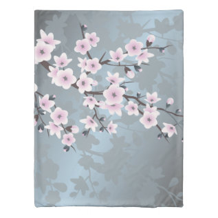 Dusky Pink Grayish Blue Cherry Blossoms Floral Duvet Cover at Zazzle