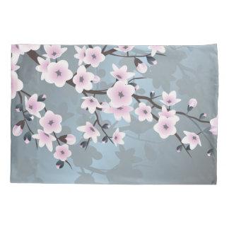 Dusky Pink  Grayish Blue  Cherry Blossoms Floral Pillow Case