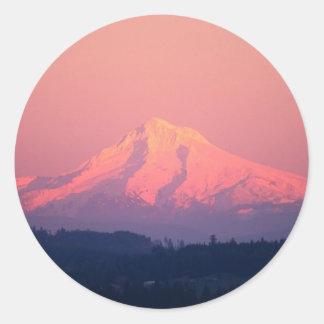 Dusky Pink Mountain Classic Round Sticker