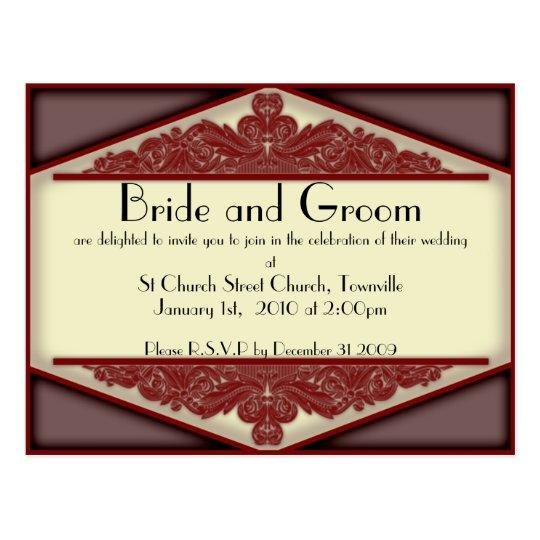 Dusky Pink Vintage, wedding invitation postcard