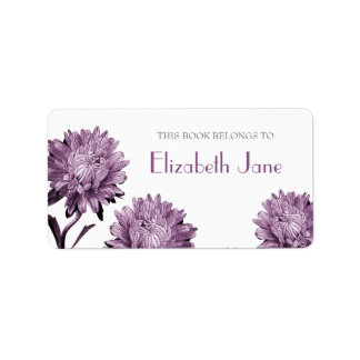 Dusky Purple Aster Bookplate Labels