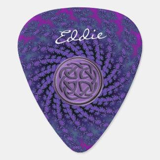 Dusky Purple Celtic Fractal Swirl Guitar Pick