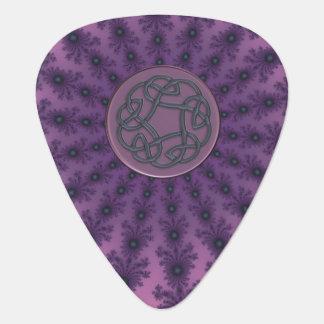 Dusky Purple Celtic Knot Fractal Music Guitar Pick