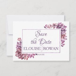 Dusky Purple Petals Floral Save the Date Card