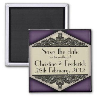 Dusky Purple Vintage, square save the date magnet