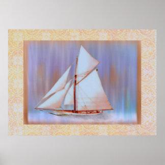 Dusky Sails bordered print