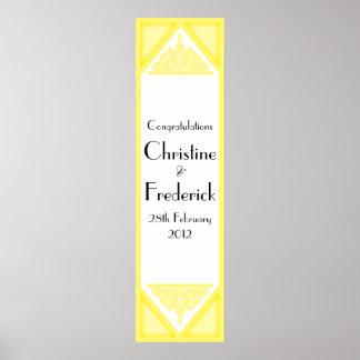 Dusky Yellow Vintage, decorative vertical banner Print