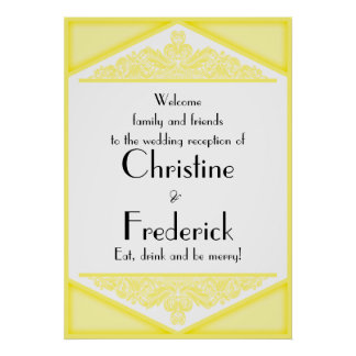 Dusky Yellow Vintage, reception welcome poster