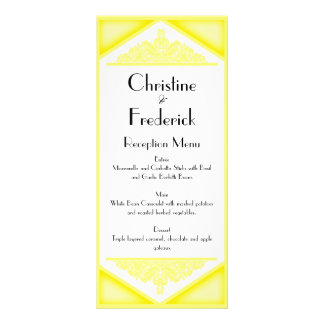 Dusky Yellow Vintage, wedding menu and program Rack Card Template