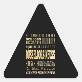 Düsseldorf-Neuss of Germany Typography Art Triangle Sticker