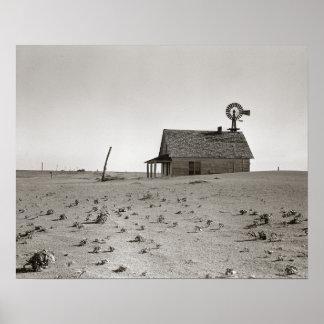 Dust Bowl Farm, 1938. Vintage Photo Poster